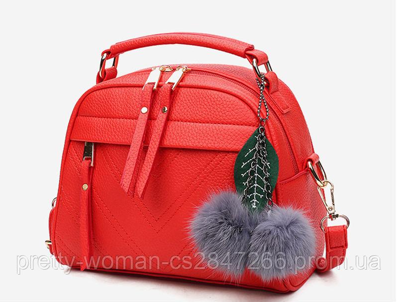 Сумка женская красная с брелком
