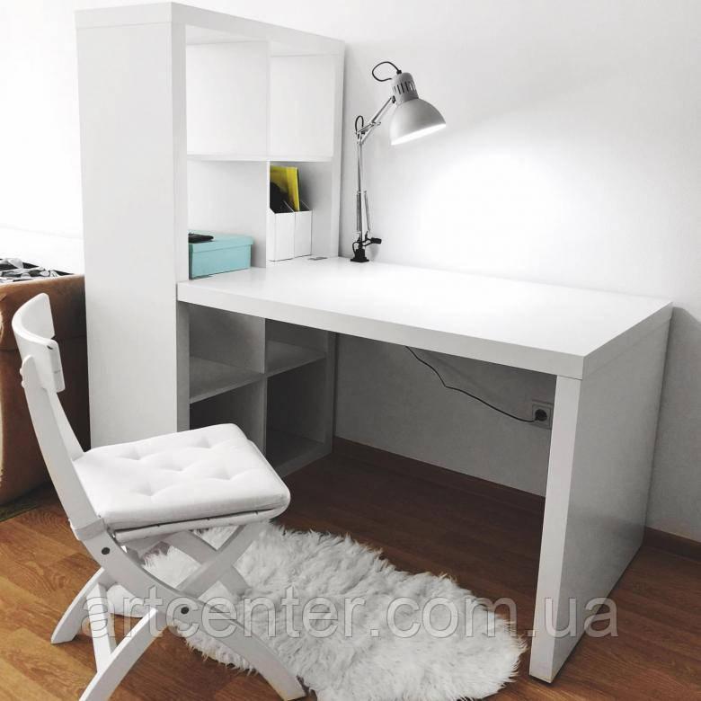 Стол для маникюра с полками, белый маникюрный стол