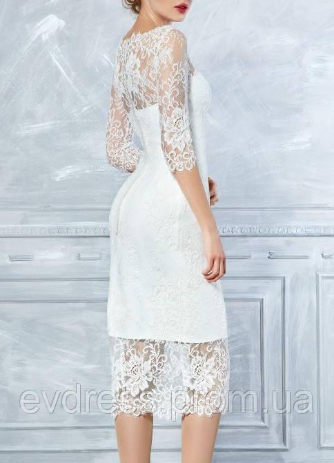 5b42ee44160 Белое кружевное платье по колено с рукавами на свадьбу СВ-22604 - Интернет- магазин