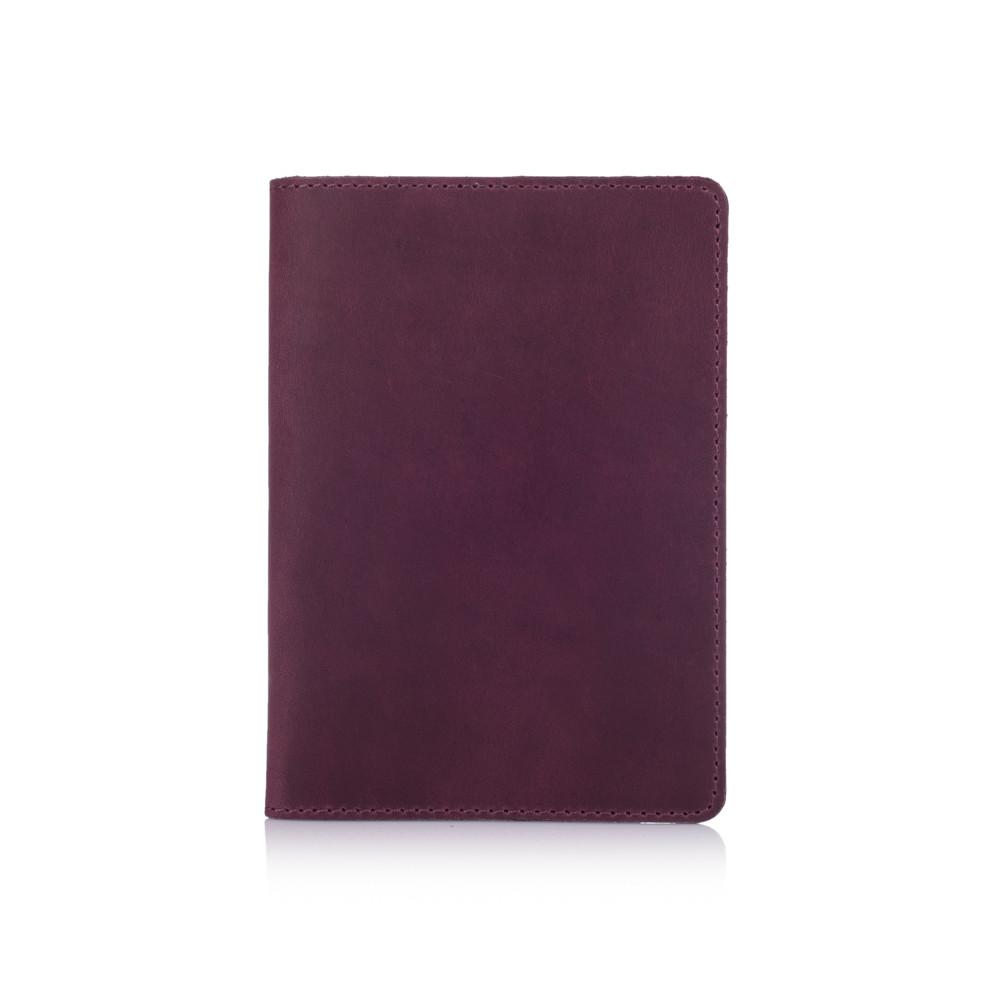 Фиолетовая обложка для паспорта с натуральной кожи с отделением под карты