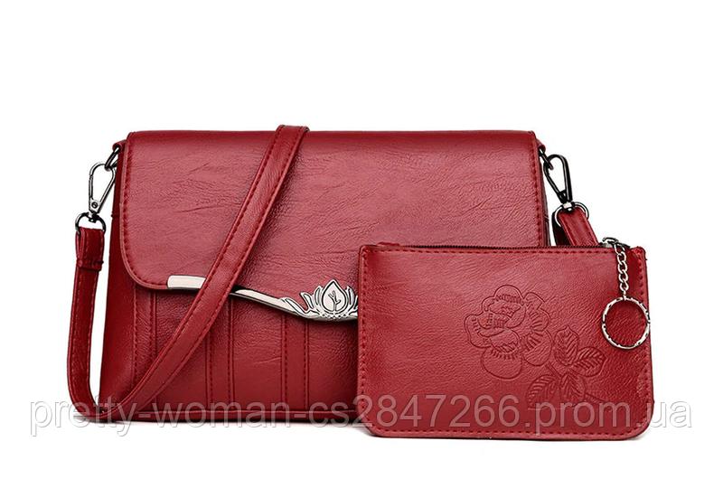 Сумка женская красная с кошельком
