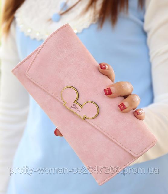 Кошелек женский розовый Микки Маус