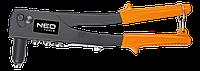 Заклепочник для заклепок стальных и алюминиевых 2.4, 3.2, 4.0, 4.8 мм. NEO