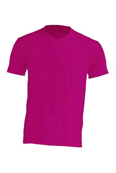 Мужская футболка JHK URBAN V-NECK цвет светло-малиновый (FU)