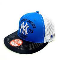 Бейсболка FULL CAP NEW YORK голубой+т.синий