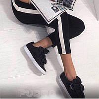 Укороченные штаны с лампасами Джери черные , женские брюки