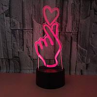 """3D Cветильник, Ночник, Лампа """"Сердце в руке"""""""