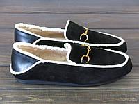 Женские черные замшевые мокасины