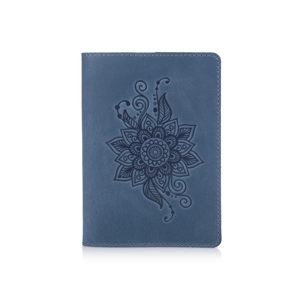 """Дизайнерська шкіряна обкладинка для паспорта з відділенням для карт блакитного кольору, колекція """"Mehendi Classic"""""""