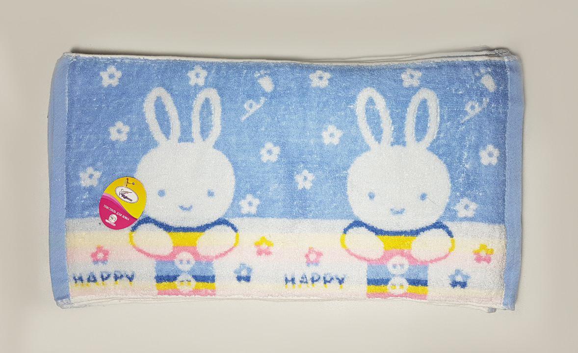 """Полотенце для рук и кухни """"Счастливый зайчик""""  26*50, цвет: голубой"""