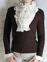 Джемпер с рубашкой 90981 шоколадный, фото 1