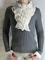 Джемпер с рубашкой 90981 серый, фото 1