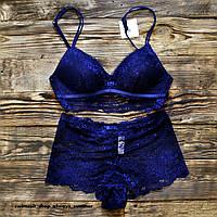 Комплект женского нижнего белья синий ажурный