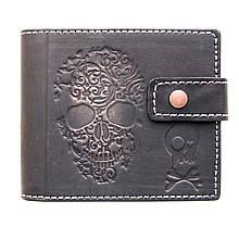 """Кошелек мужской кожаный на кнопке с карманом для монет """"SKULL"""" (Guk). Цвет черный"""