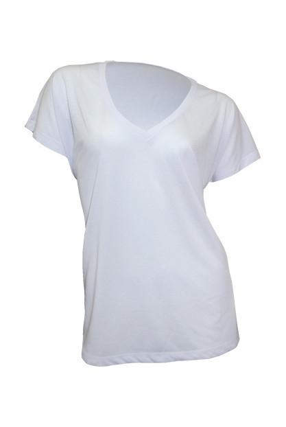 Женская футболка с V-образным воротом под сублимацию JHK SUBLI Flowy V-neck, цвет белый (WHSB)