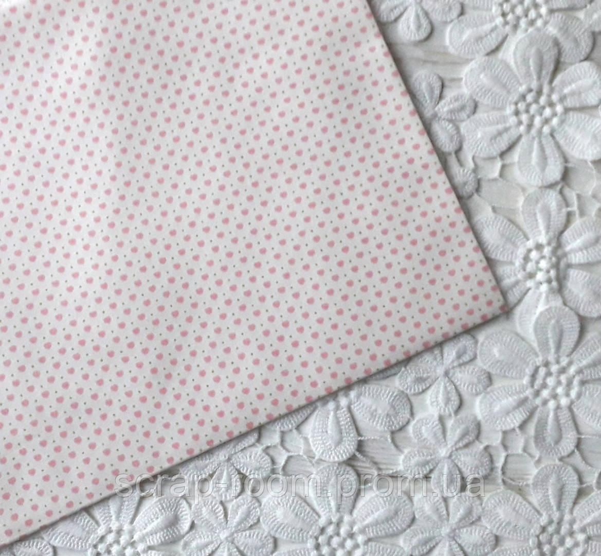 Ткань хлопок 100% сердечки бежевая розовая, цветочный хлопок, Корея отрез 20 на 50 см