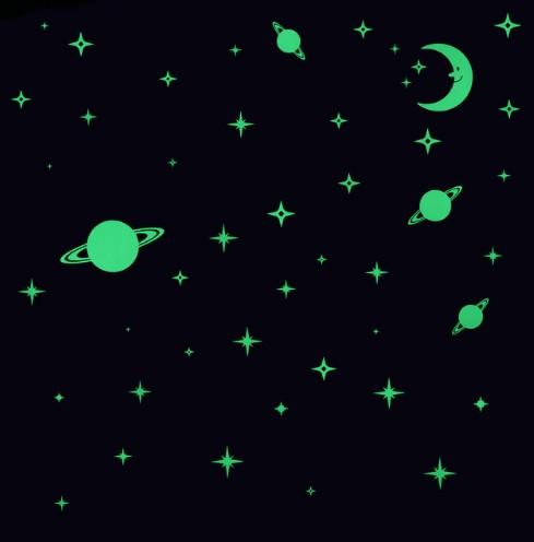 """Светящаяся наклейка """"Космос"""" - 27*20см"""