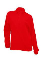 Женский флисовый пуловер с короткой застежкой-молнией JHK MICRO FLEECE LADY, цвет красный (RD)