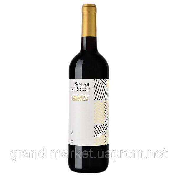 """Вино красное """" Solar de Ricot Semidulce """" 0.75 l"""