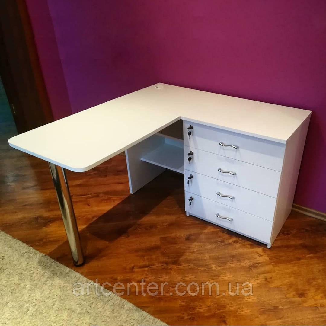 Угловой маникюрный стол белого цвета, стол для маникюра с тумбой