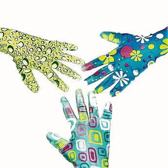 Перчатки рабочие садовые, нейлоновые женские с микроточкой, упаковка — 12 пар, фото 2