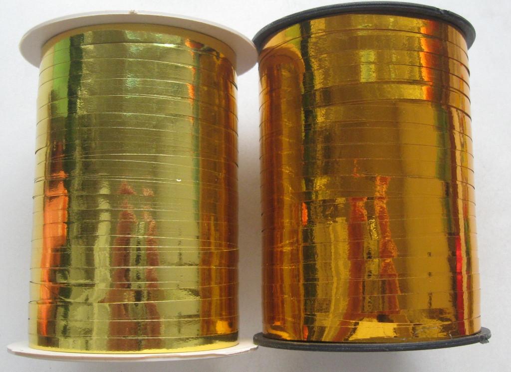 "Лента подарочная, металлик, золото ""медное""\светлое, ширина 5 мм. катушка 150 м"