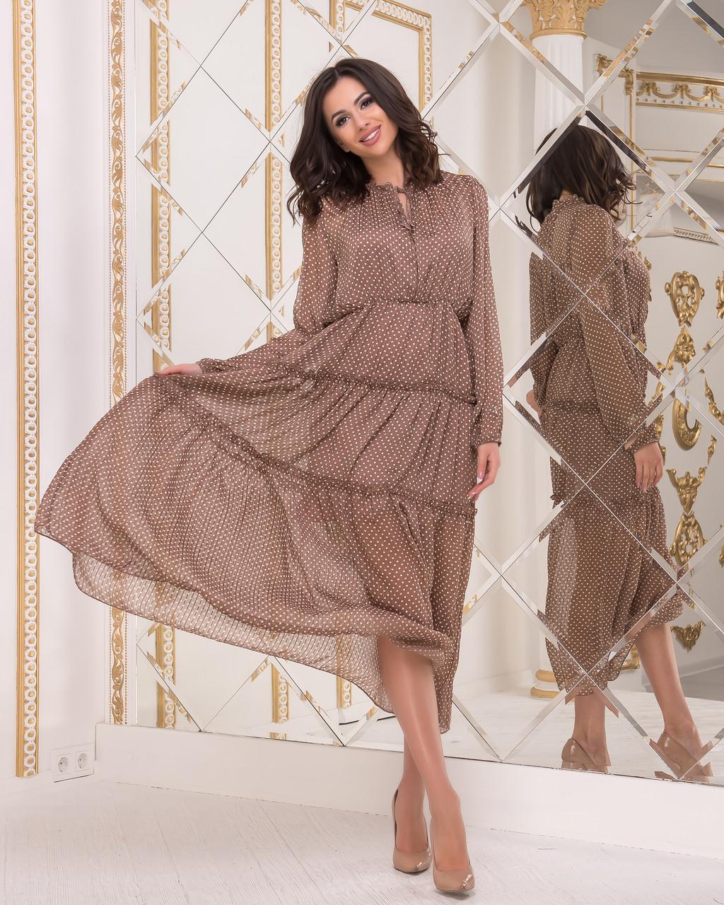 ef4fab6f6f3 Итальянское шифоновое платье в горох от интернет-магазина ...