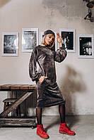 Свободное женское велюровое платье, фото 1