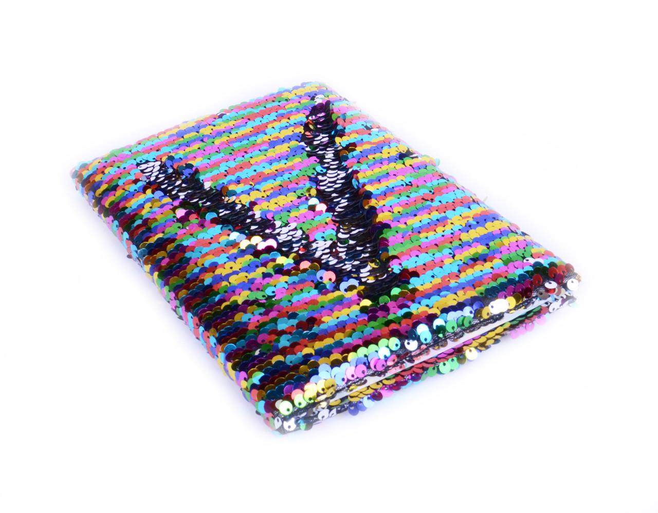 Блокнот А5 с цветными пайетками, 80л линия