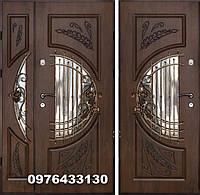 Двері вхідні в комплекті 960+1200 дуб темний