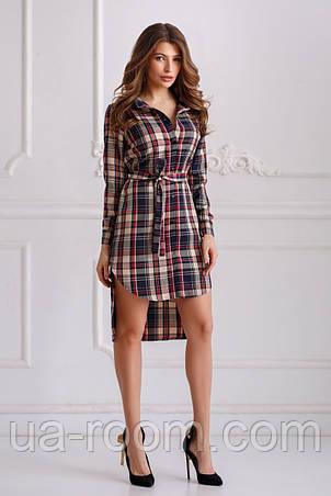 Женское платье-рубашкав клетку №535, фото 2