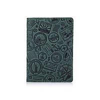 """Оригинальная кожаная обложка для паспорта с отделением для карт зеленого цвета с художественным тиснением """"Let's Go Travel"""""""