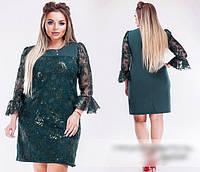 Платье изумрудное с вышивкой из пайетки, с 50-64 размер, фото 1