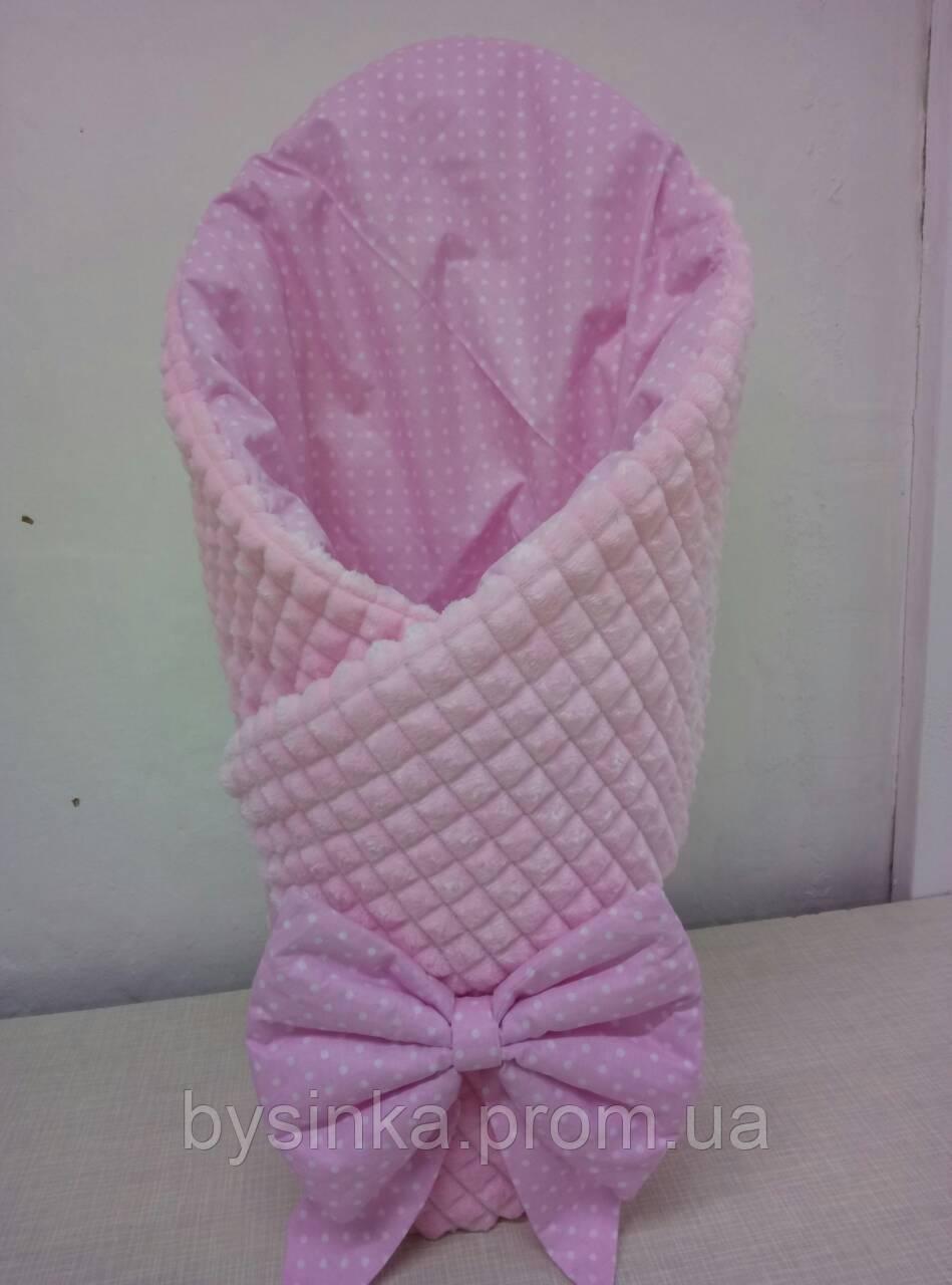 Конверт-плед детский Плюш Minky, 80*90 см. с шапочкой