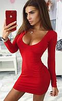 Трикотажное мини платье с декольте
