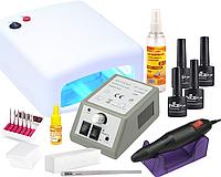 Стартовый набор для гель-лака с УФ лампой и фрезером для маникюра Lina Mercedes