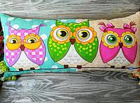 Подушка 2 розовых совы и 1зеленая сова ІІ , 61 см * 29 см