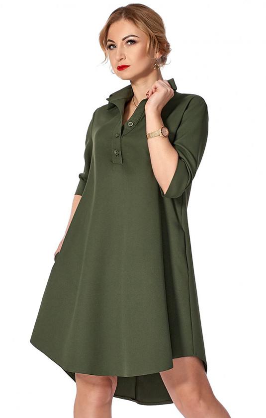 16a0aacd6fa Купить Платье-рубашка цвета хаки. Модель 1128. Размеры 42-50 в ...
