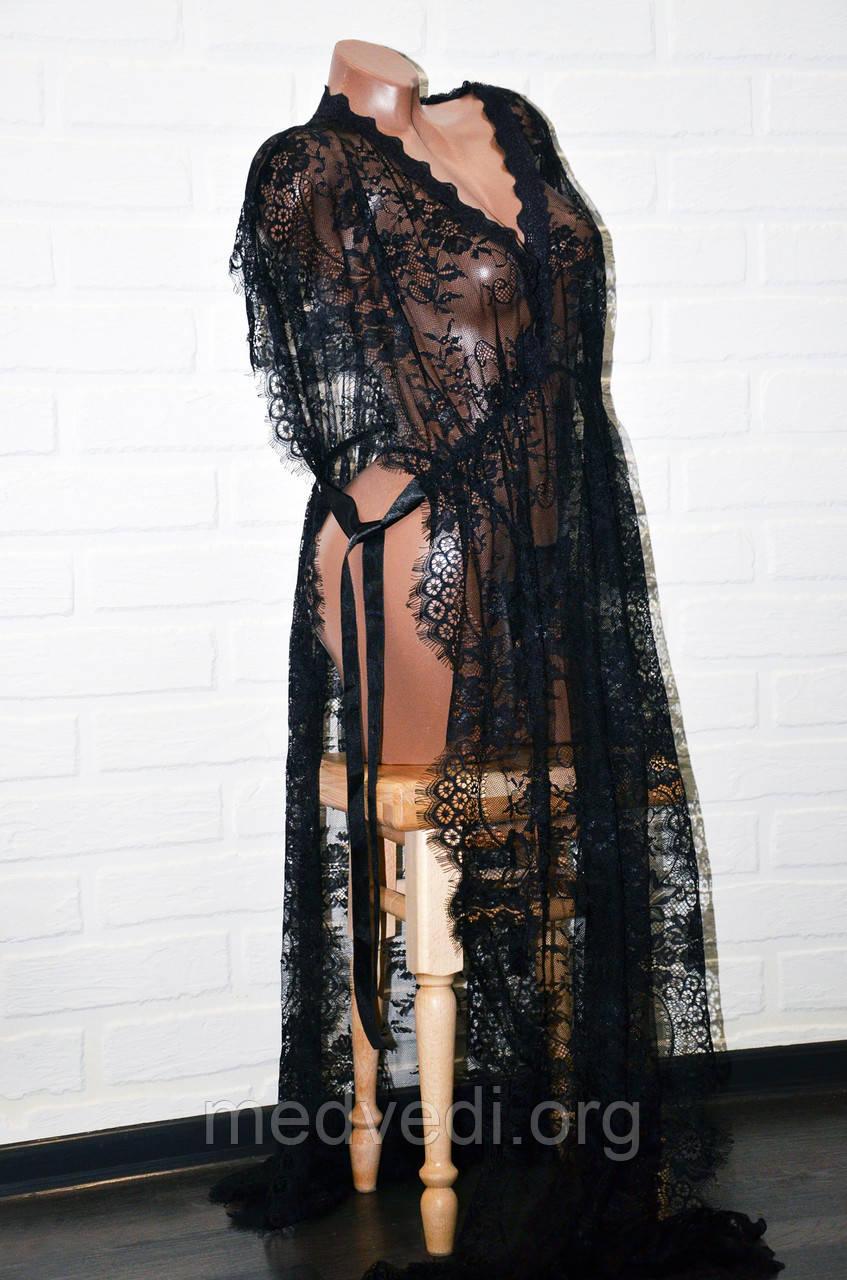 Черный комплект женского откровенного белья, кружевной халат (пеньюар) и трусы стринги, размер L