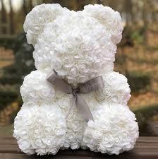 Мишка из 3D роз Белый с бантом 40см. Самый романтический подарок!