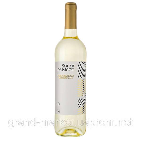"Вино белое "" Solar de Ricot Semidulce "" 0.75 l"