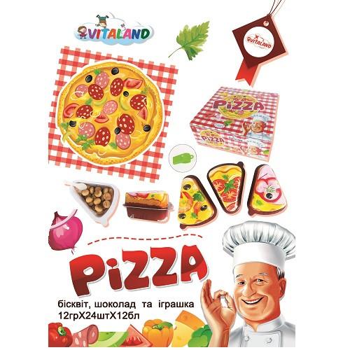 Пицца сюрприз (шоколад, печенье, игрушка) 15 гр/24 в уп/12 в ящ