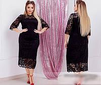 Платье женское гипюровое черное, с 50-60 размер, фото 1