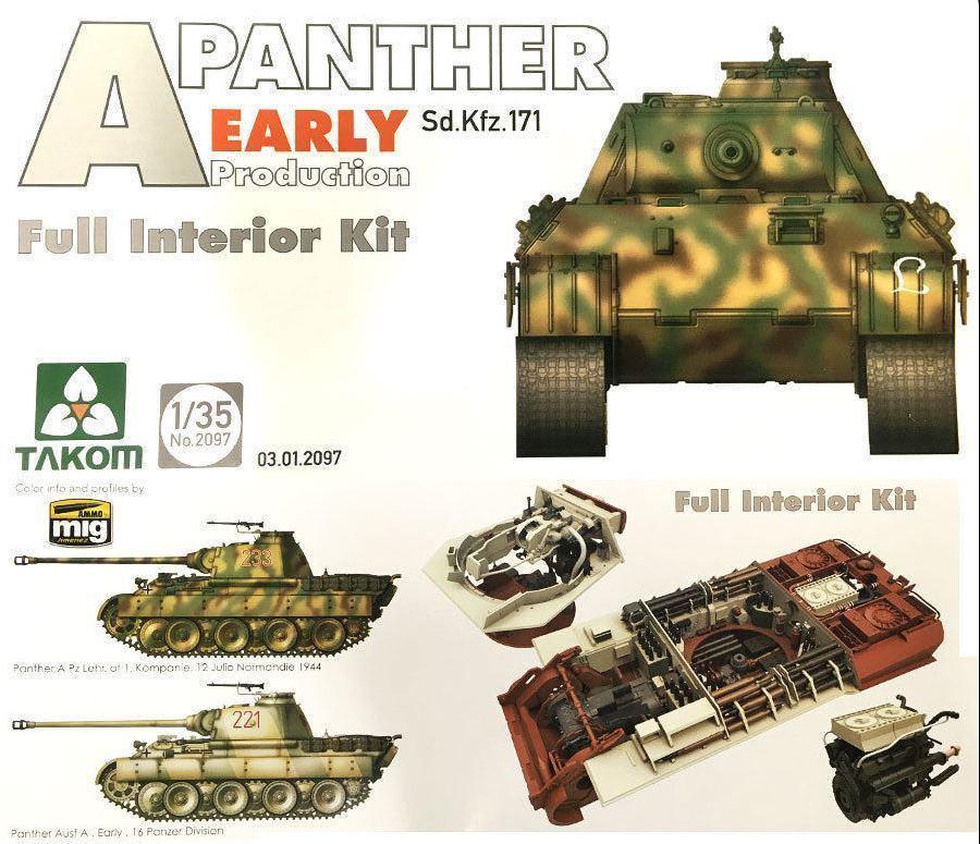 """Немецкий средний танк Sd.Kfz.171 """"Panther"""", раннего производства с интерьером. 1/35 TAKOM 2097"""