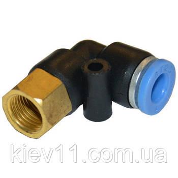 """Соединение цанговое для полиуретановых шлангов PU/PR (Г-обр., шланг - внутр. резьба) 10ммX1/2"""" AIRKRAFT SPLF10-04"""