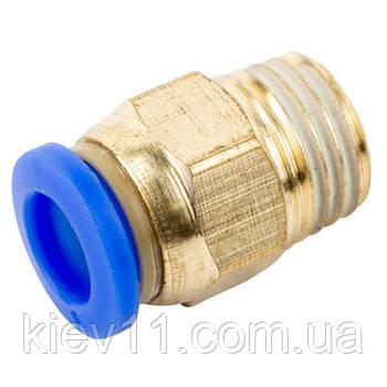 """Соединение цанговое для полиуретановых шлангов PU/PR (прямое, шланг - наружн. резьба) 10ммX1/2"""" AIRKRAFT SPC10-04"""