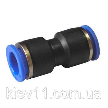 Соединение цанговое для полиуретановых шлангов PU/PR (прямое, шланг)  6мм AIRKRAFT SPU06