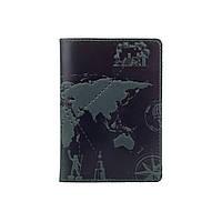 """Оригинальная кожаная обложка для паспорта с отделением для карт зеленого цвета с художественным тиснением """"7 wonders of the world"""""""