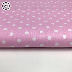 """Польская хлопковая ткань """"горох белый на розовом 7мм"""", фото 2"""