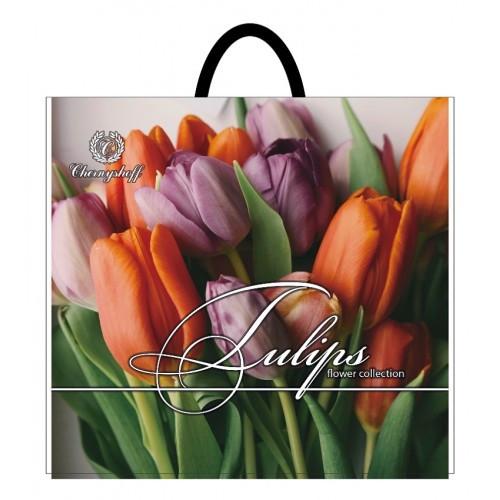 Полиэтиленовый пакет с пластиковой ручкой (сумка) ''Тюльпан желтый'' 380*340, 10 шт